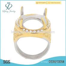 O anel o mais quente do ouro & da prata do cristal de indonésia sem o anel dos homens de pedra de indonésia