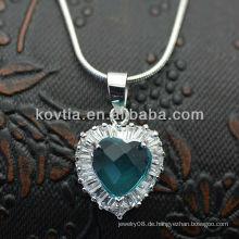 Modische 925 Silber Herz Edelstein Diamant Anhänger blau Saphir Halskette