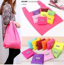 Sacos de compras de eco-friendly moda saco portátil dobrável nylon poliéster mulheres armazenamento saco 8 cores disponíveis