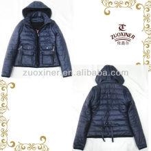 China winter ladies detachable sleeve leather jacket heavy coat padded down jacket whoolesale
