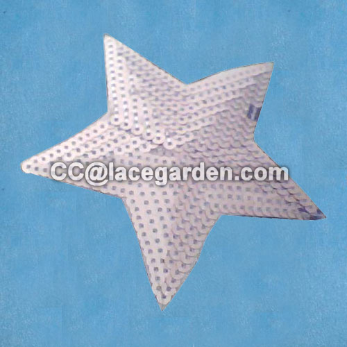 Star Design Sequin Embroidery Patches