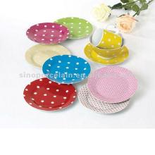 Placa de jantar redonda de 19cm com design de pontos para BS12050