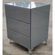 Pata de acero inoxidable de vidrio gris 3 cajones Mesita de noche