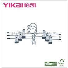Conjunto de cabides de saia de metal cromado 3pcs com clipes de metal e cinto rack