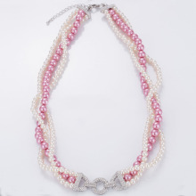 Jualan Panas Triple Strand Glass Pearl Necklace