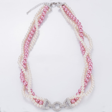Hot Sale Triple Strand Glass Pearl Necklace