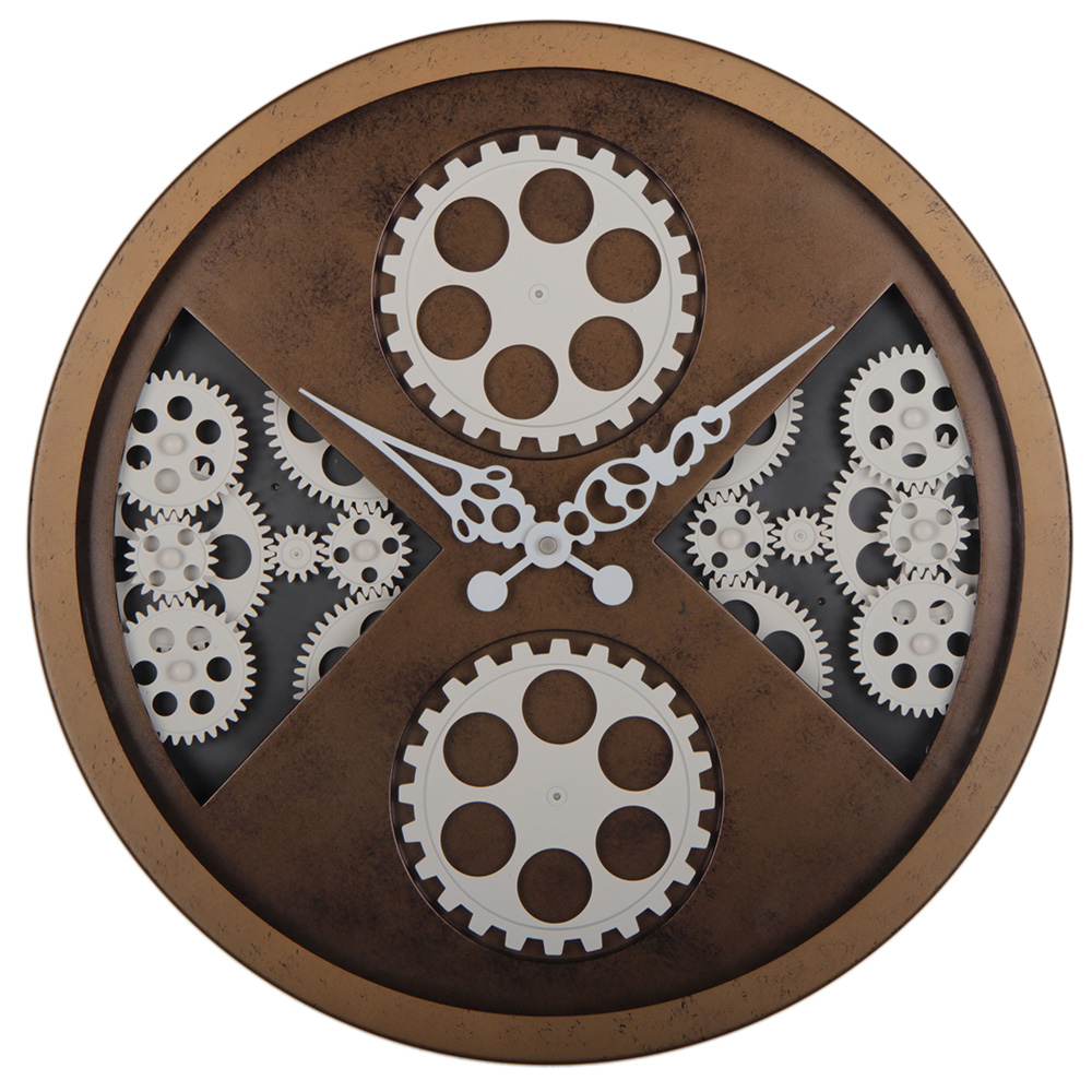 Antique Style Brown Wall Clocks in Rustic Finishing