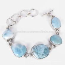 Nuevo diseño Larimar costoso piedras preciosas 925 pulsera de plata esterlina joyas hechas a mano