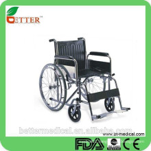 chrome steel frame wheelchair with dixed footrest