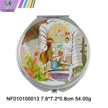 Mini folding round makeup mirror