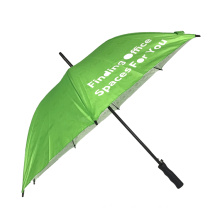 Straight promotional custom white logo green umbrellas