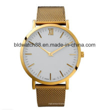 Reloj de logotipo personalizado de moda Reloj de pulsera de oro para señoras
