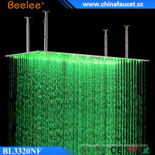 Beelee 20′′ Large Brushed Rectangle Rainfall Waterfall Waterproof LED Shower