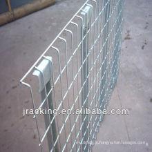 Decking personalizado logístico da rede de arame da cremalheira da pálete com barras de apoio