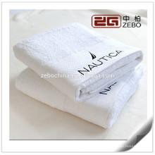 Algodão egípcio personalizado bordado logotipo branco luxo toalhas de banho do hotel