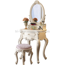 Modern solid wood bedroom furniture dressing table with stool