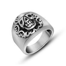 Широкий Литой череп кольцо из нержавеющей стали старинные цветок