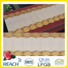 Toalha de mesa longa do laço do ouro do PVC de 50cm * 20m