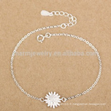 CYL005 925 bijoux en argent, bracelets 100% en argent sterling avec charme de chrysanthèmes, cadeaux de Noël amie