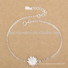 Серебряные ювелирные изделия CYL005 925, браслеты стерлингового серебра 100% с шармом хризантем, подарки рождества подружки