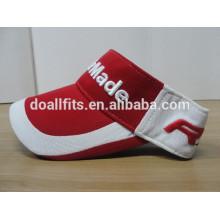 Chapéu vermelho e branco do visor do sol do tênis do algodão e tampões com enterales feitos sob encomenda e do preço baixo