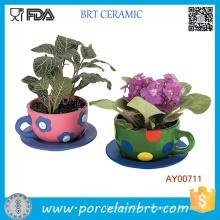 Tasse à thé de jardin pots de fleurs en céramique grande fleur pots de fleurs