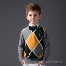 Menino mangas compridas argyle design sweater kids cashmere sweater