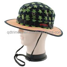 Malla de metal ojetes impreso algodón sarga ocio bucket sombrero (TMBT0250)