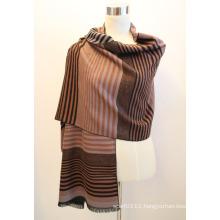 Lady Fashion Viscose Woven Jacquard Fringed Shawl (YKY4416-2)