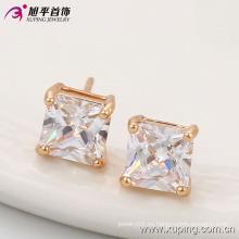 Nueva llegada Elegante Square CZ Crystal Rose chapado en oro de imitación de joyería de moda pendientes Stud -91062
