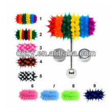Two Batteries Steel Shaft Silicone Vibrating Colorful Tongue Bar