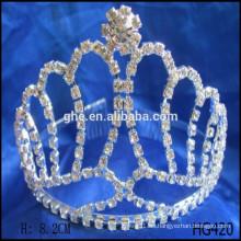 Corona tiaras cristal rhinestone boda accesorios de cabello alta corona redonda coronas populares de desfile