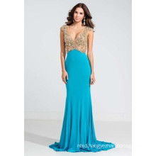 Deep V-Neckline Beaded Jersey Evening Dress