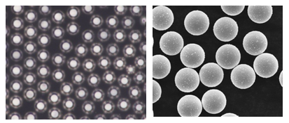 Optical and SEM micrographs of FaraBead® Ni particles