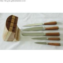 6pc bamboo knife block sets