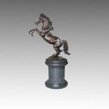 Sculpture sur le jardin en bronze animal Statue en laiton saut à cheval Tpal-195