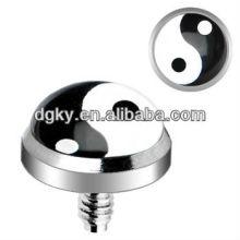 Chirurgische Stahl intern Threaded Ying Yang Logo benutzerdefinierte Dermal Anchor Schmuck