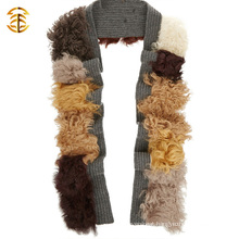 Fashion Ladies Wholesale Real Mongolian Lamb Fur Scarf Wool Knitted Fur Scarf