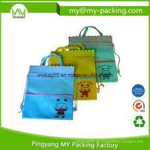 Mochila de mochila de cordão Eco Friendly pano Kid′s