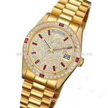 Automatic Watch Men's Watches with Stars Like Diamond, Calendar/Date Function, Gold Color