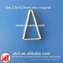 dia.2.5x10.5mm discos magnéticos de neodimio disco imán / / neodimio redondo imán