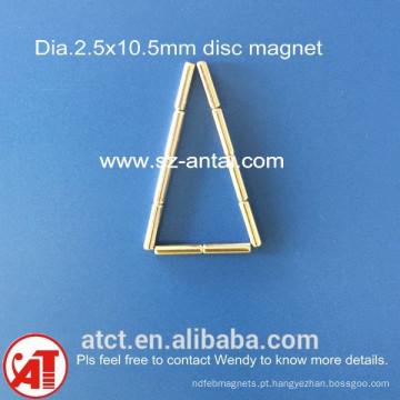 ímans de disco dia.2.5x10.5mm / disco de neodímio ímã / rodada de neodímio ímã