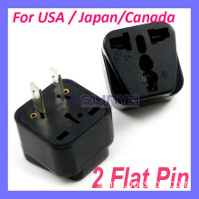 Universal to American Plug Adapter 2 Flat Pin for Japan USA Canada Philippines Thailand Taiwan