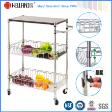 Commercial Restaurant Chrome Metal Serving Basket Trolley for Fruit/Vegetable