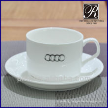 porcelain tea cup & saucer with logo