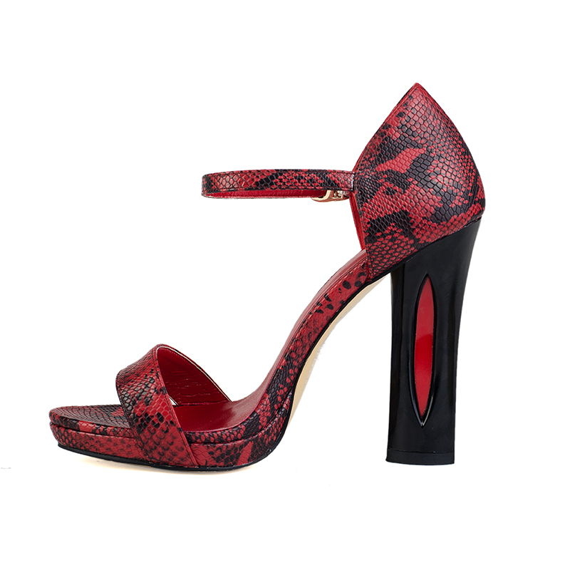 12cm high heel red serpentine pu sandals