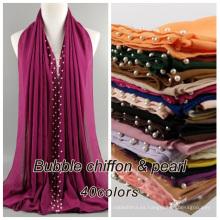 Venta al por mayor con estilo musulmán hijab bufanda sólida llana perla burbuja gasa bufanda dubai