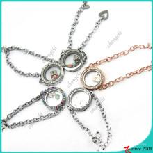 Nueva Deign Round Glass Locket pulsera (LB16041203)