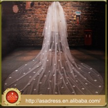 BV1011 New Design2015 Lovely Lvory Long Wedding Veil One Layer Hand Beaded Flower Bride Veils