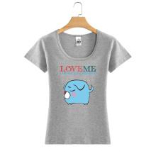 Camiseta de encargo de las mujeres del verano de la impresión de la manera del algodón de calidad superior al por mayor